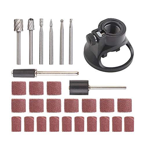Milageto Kit de Tambor de Lijado de 29 Piezas para Accesorios Dremel Brocas de Uñas de Herramienta Rotativa