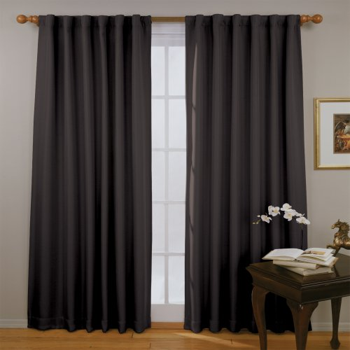 ECLIPSE Fresno Thermal Insulated Single Panel Rod Pocket Darkening Curtains for Living Room, 52' x 84', Black