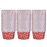 Akozon Cake Cup 100PCS Mini Cupcake Fodere di carta Rotonde Cake Pirottini Astucci per muffin Festa a casa Matrimonio(Red Dot)