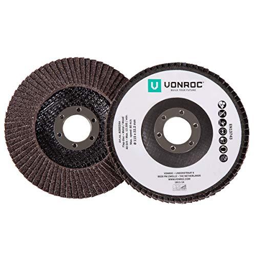 VONROC Universelles Fächerschleifscheiben-Set 2-teilig – K40 & K60 - Ø 115 x 22,2 mm