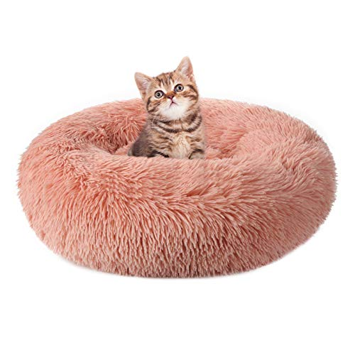 rabbitgoo Cama Gato Perro Antiestres, Cama para Gatos Relajante Cama de Gato con Felpa Suave, Cama Mascota para Dormir Mejor, Antideslizante, Lavable a Máquina (50 x 50CM, Rosado)