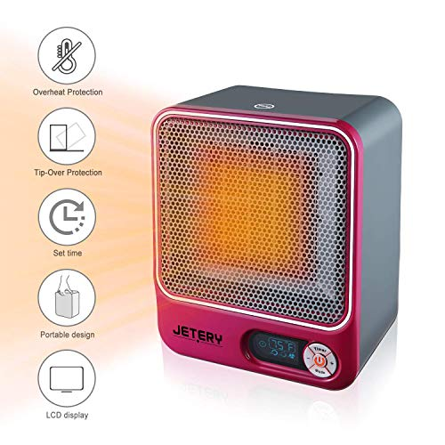 JETERY 1500W PTC Space Heater, Heating System for Bedroom & Office, Portable Electric Heater with Adjustable Thermostat - Overheat Protection, Rose Heater Portable Space