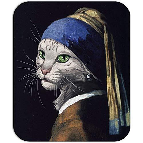 De kat met de parel oorbel - meisje Johannes vermeer schilderij parodie grappige muis pad muismat