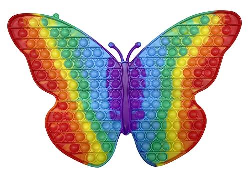 CRAZYCHIC - Pop It Gigante XXL Fidget Toys - Popit Enorme Push Bubble Juguetes Niños Barato - Juegos Antiestres Grande Hijos Adultos - Burbujas Multicolor Arco Iris Regalo Niño Niña - Mariposa