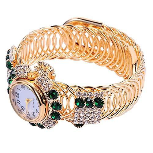 ABOOFAN 1 Pieza de Pulsera Estampada con Cuentas Correa Joyas Pulsera de Aleación Reloj de Moda Cuarzo Pulsera Elástica Reloj para Niñas para Mujer (Verde)