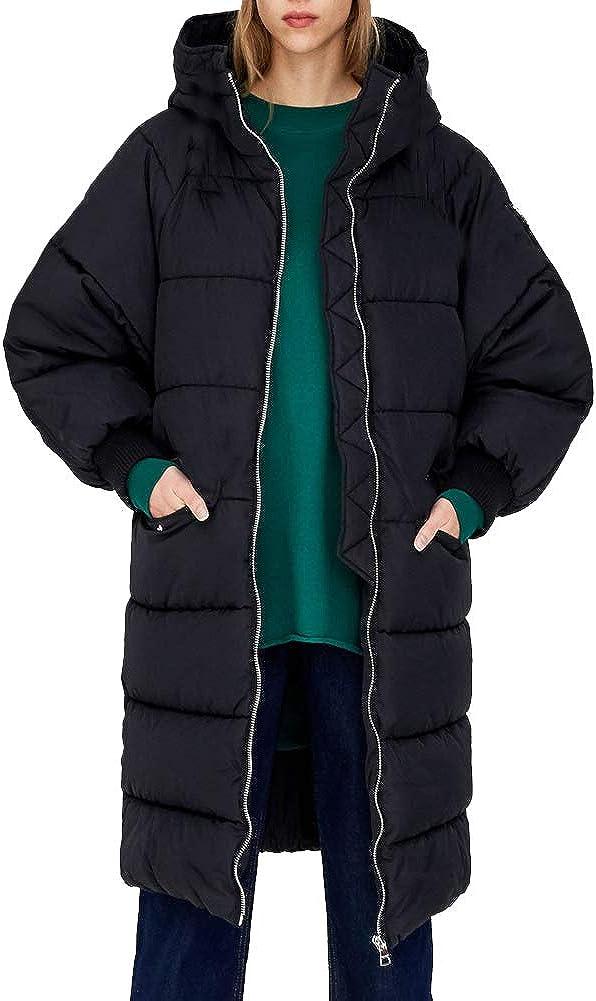 Aofur Womens Long Down Jacket Zipper Lightweight Quilted Winter Warm Cotton Coat Hoodies Trench Parka Casual Outwear