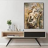 WKAQM Pablo Picasso Cartel Chica Jugando Mandolina Lienzo Pared Arte Pintura Famosos Resumen Cartel Impresiones Galería Sala Imágenes Pared Arte Decoración Sin Marco