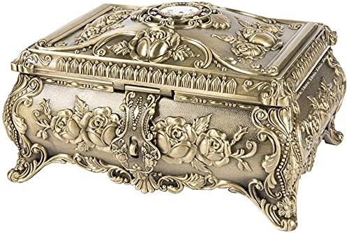 Organizador de exhibición de recuerdos de joyería Estilo europeo Joyería de diamante creativa Exquisito caja de metal Caja de almacenamiento de múltiples capas rectangulares grande rectangular Caja de