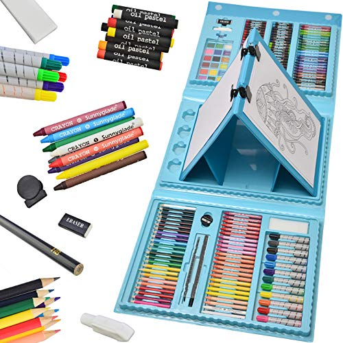 Sunnyglade 185 Pieces Double Sided Trifold Easel Art Set, Drawing Art Box with Oil Pastels, Crayons, Colored Pencils, Markers, Paint Brush, Watercolor Cakes, Sketch Pad (Blue)
