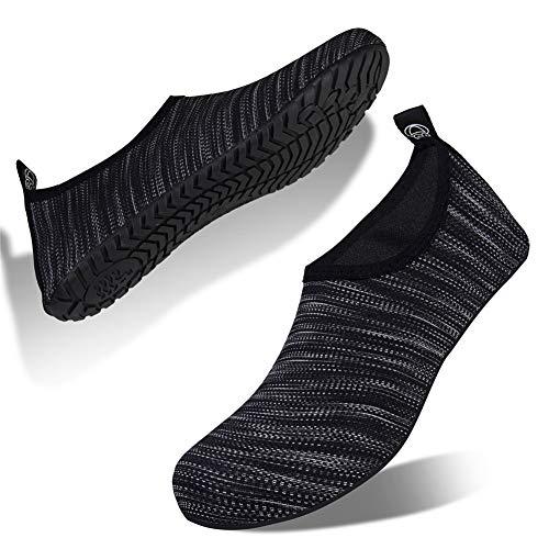 WateLves Zapatos de Agua para Hombres y Mujeres Zapatos para Deportes acuáticos Zapatos de Buceo natación Surf en la Playa Yoga Zapatos Ligeros de Secado rápido(Gris Oscuro,38/39 EU)