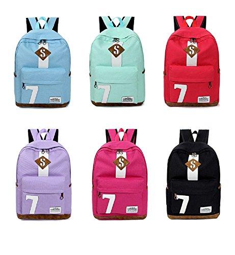 VIOY Rucksack Cristiano No. 7 Paar Sport Rucksack Einfache Leinwand Student Tasche Ronaldo,Rosa,Einheitsgröße