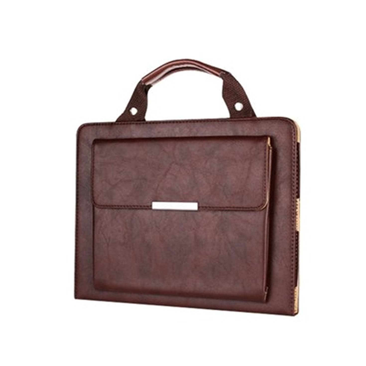 iPad Air 2 Case Bag,Ultra Portable Handle Carrying Leather Sleeve Case Bag Executive Smart Cover Built-in Flip Stand-Sleep/Wake Up Feature with Outside Pocket for Apple iPad Air 2 (iPad 6)-Brown