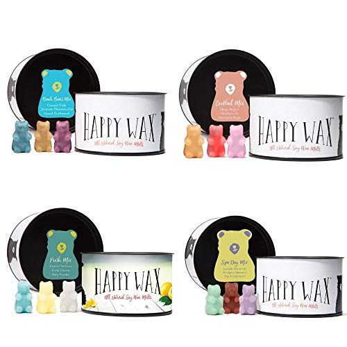 Happy Wax - Four Mixed Tins Wax Melt Sampler Gift Set - Includes 3.6 Oz Each of Our Scented Soy Wax Melts in Our Cocktail Mix, Beach Bears Mix, Fresh Mix, and Spa Day Mix!
