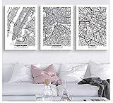 JCYMC Leinwandbild New York London Paris Berlin Berlin Schwarz-Weiß-Karte Abstractprint Nordisches Bild Home Deocration Lk3Yz 40X60Cm 3Pcs/Set Rahmenlos