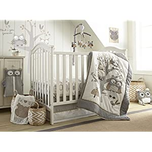 Levtex Baby – Night Owl Crib Bed Set – Baby Nursery Set – Grey, Tan and Cream – Owls in a Tree – 5 Piece Set Includes Quilt, Fitted Sheet, Diaper Stacker, Wall Decal & Crib Skirt/Dust Ruffle