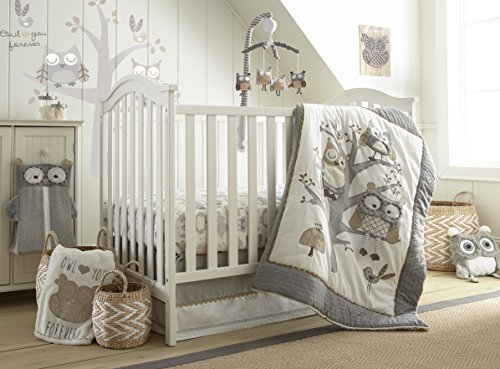 Levtex Baby Night Owl 5pc Crib Bed Set, Gray, 5Pc Crib Set