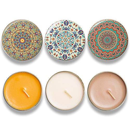 BOHORIA® Vela prémium de bienestar, aroma de sándalo, caramelo y vainilla, contiene aceites esenciales naturales, 3 velas aromáticas en 3 diseños (Marrakeech)