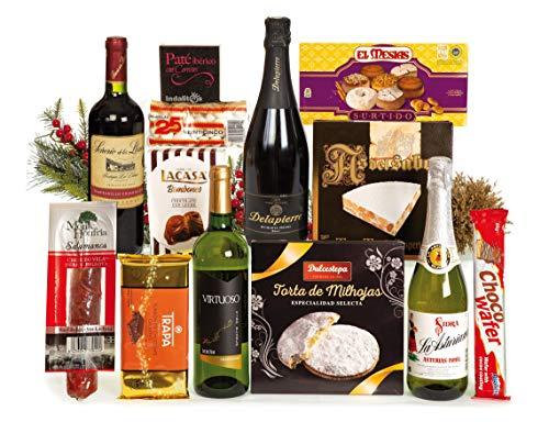 Lote de Navidad clásico con vinos, surtido de turrones, dulces y vela de Navidad