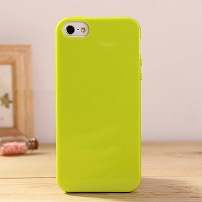 iPhone 5 & 5S Jelly Case, ANLEY Candy Fusion Series - [1.5mm Slim Fit] [Shock Absorption] Classic Jelly Silicone Case Soft Cover for iPhone 5 & 5S (Lime Green) + Free Ultra Clear Screen Protector Film