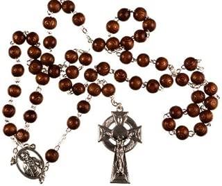 Wood Bead with Metal Celtic Cross Man's Rosary Bead. Traditional Catholic Rosary.