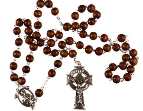 Wood Bead with Metal Celtic Cross Man's Rosary Bead. Traditional Catholic Rosary.