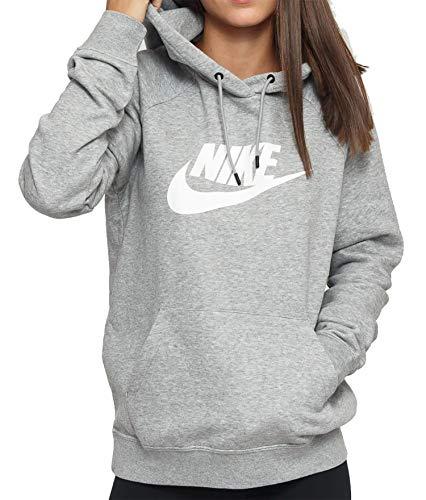 Nike Damen Sportswear Essential Pullover Hoodie, Dark Grey Heather/White, S