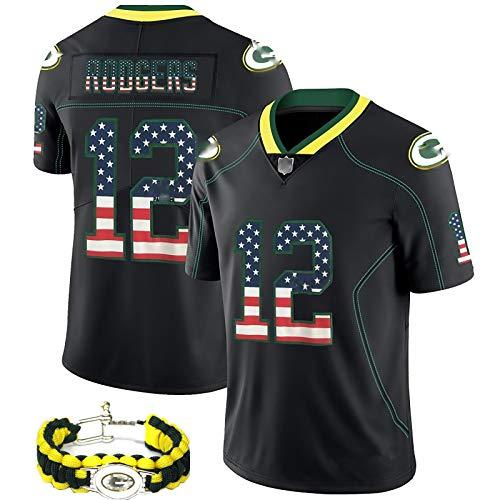 HFGD Kit de fútbol Americano de los Hombres, Packers Rodgers Fan Uniform, la Misma Pulsera, 2020 última versión Nacional de la Camiseta, Limpieza repetible 3XL