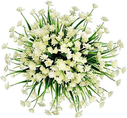 Preisvergleich Produktbild Künstliche Blumen Greenery Sträucher UV-beständig Verblasst Nicht Innen Draußen Innenministerium Hochzeit Bürgersteig Garten und Dekor (Color : White,  Size : 6pcs)
