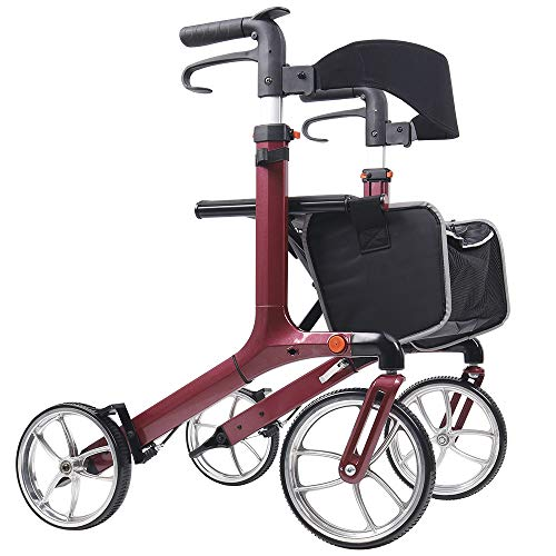 "Give Me Aluminum Rollator Walker with 10"" Wheels Foldable Seat and Lightweight Carry Bag Red"