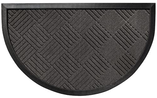 Gorilla Grip Durable Natural Rubber Door Mat, 35x23 Half Circle Heavy Duty Welcome Doormat for Indoor Outdoor Waterproof, Easy Clean, Low-Profile Rug Mats for Entry, Busy Areas, Gray Diamond