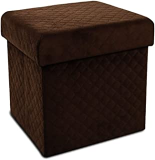 LYNSLIM Storage Ottoman Bench – Collapsible/Folding Bench Chest with Cover,Perfect Toy and Shoe Chest, Pouffe Ottoman, Hope Chest, Seat, Foot Rest, Contemporary Faux Suede (Brown, Small)