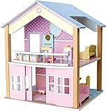 small foot 3110 Puppenhaus Blaues Dach aus Holz in zauberhaften Pastelltönen, inkl. 15 farbenfrohen...