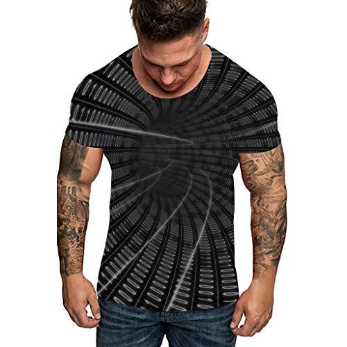 serliy😛Herren 3D Druck T-Shirt Rundhals Kurzarm Shirts otiv Tops Oversize Kurzarmshirt Sport Oberteile Print Unisex Basic Hemd Casual Sommer Lässige Kleidung Bluse Tops