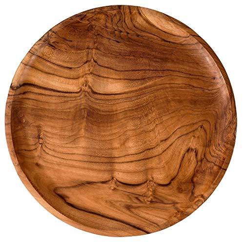 Windalf Rustikaler Servier Holzteller Riana Ø 30 cm Pizzateller Brotzeit-Teller mit Sockel Antipasti-Platte Kuchenteller Handarbeit aus Holz