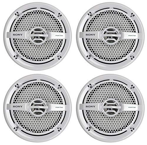 Sony XS-MP1611 6.5 Inch 280 Watt 4 Ohm Dual Cone Weatherproof Marine Audio Stereo Speakers with...
