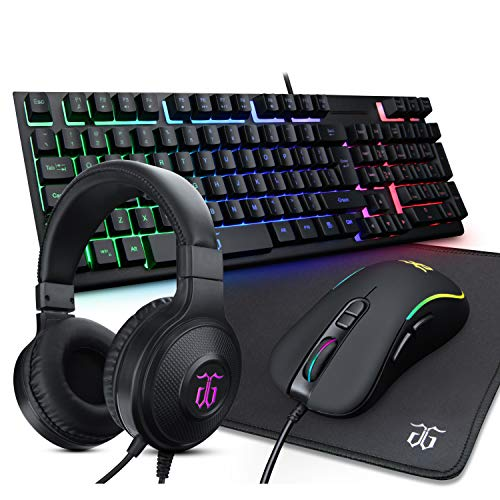 DGG ST-KM6 Wired RGB Backlit Gaming Keyboard and Mouse, Gaming Mouse Pad, Gaming Headset,All in One Combo for PC Gamers and Xbox and PS4 Users