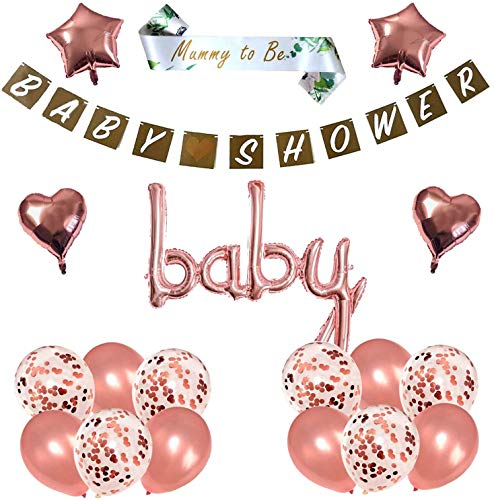 Blue Planet Fancy Dress Rose Gold Neutral Unisex Baby Shower Decorations Party Set Kraft Banner Garland, Foil Balloons Set, 16 Confetti Latex Balloons, Foil Hearts Foil Stars and Mummy to Be Sash