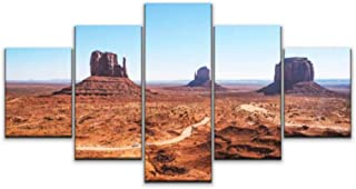 Skipvelo 5 Panels Wall Canvas Prints Pictures, The Landscape of Monumental Valley overwhelms, not just by its Beauty Wall Paintings Wall Decor Stretched and Framed Ready to Hang