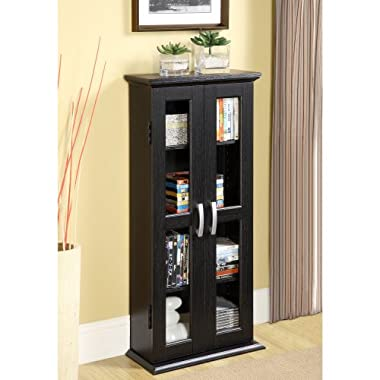 Walker Edison 41  Media Storage Cabinet, Black