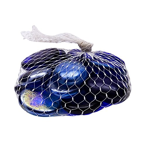 Indianbeautifulart Blauer Strudel Stone Home Decor Marbles Dekoration Aquarium Flachbodenglas 15 Stück