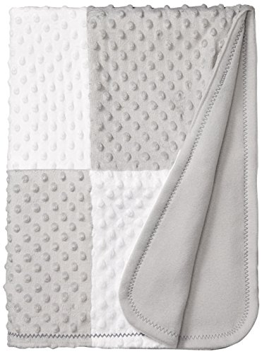 Spasilk Minky Raised Dot Baby Blanket with Satin Trim — Double Layer Blanker for Baby Girls, Baby Boys — Gifts for Newborns — Receiving Blanket Grey