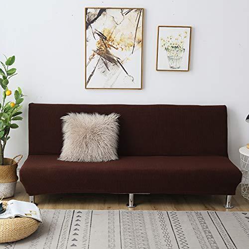 C/N Funda de sofá Cama Clic clac Plegable elástico Fundas de sofá sin Brazos Funda de sofá elástica sin Brazos Funda Clic clac 3 Plaza Café Oscuro