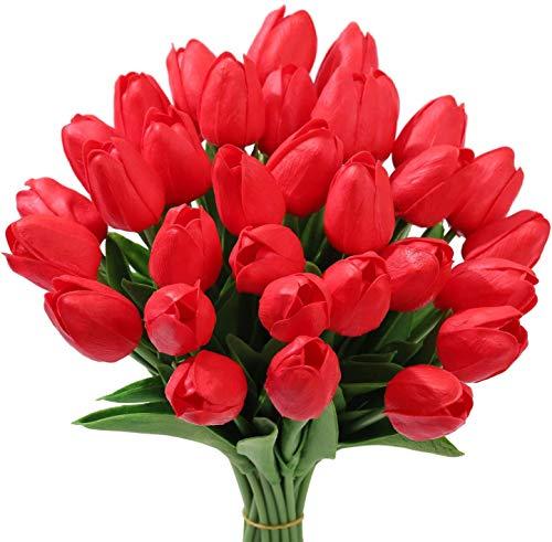 Tifuly 24 Pezzi di Tulipani Artificiali in Lattice, realistici Bouquet di Fiori Finti di Tulipani per la casa, Matrimonio, Festa, Decorazione dell'ufficio, composizioni Floreali (Rosso)