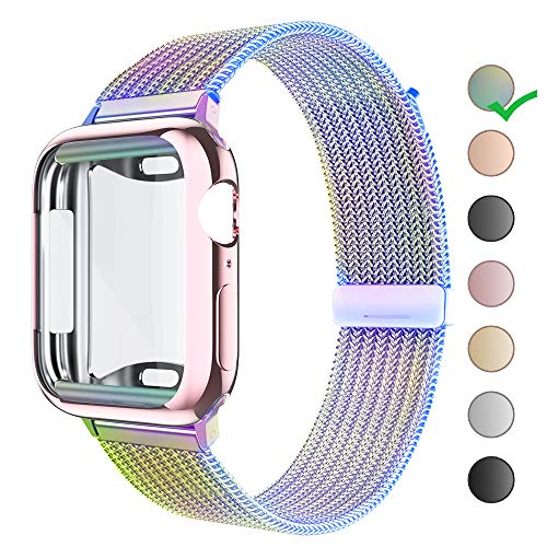 HONEJEEN Compatible for Apple Watch Band with Screen Protector 38mm 40mm 42mm 44mm, Soft TPU Protective Case with Stainless Steel Mesh Loop Replacement for iWatch Band Series 4 3 2 1