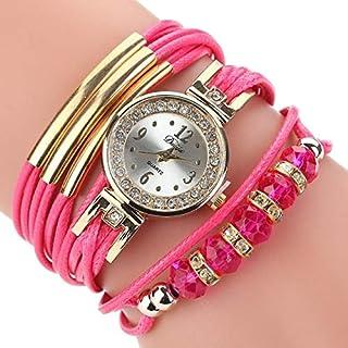 Woman's Quartz Watch Movement Watch,Girls Quartz Watch,Belt Rhinestone Circle Bracelet Watch,MonsterAmy (Color : Rose Red)