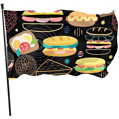 Garden Flag Dessin Animé Burger Sandwich Pizza Impression Fly Breeze Durable Bienvenue Jardin Drapeau Cour Bannière Maison Drapeau Extérieur Plage Drapeaux Facile À Utiliser Jardin Drapeau Jardi