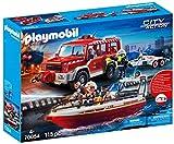 Playmobil 70054 - Kit de Bomberos con Barco de Bomberos, Multicolor