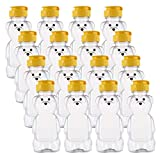 Bekith 16 Pack 8 oz Plastic Bear Honey Bottle Jars, Honey Squeeze Bottle Empty with Flip-top Lid for Storing and Dispensing