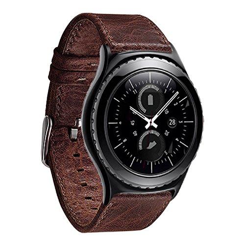 Ersatzarmband 22mm Kunstleder für Motorola Moto 360 2nd Gen 46mm Uhrenarmband Dunkelbraun