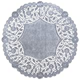 The Baker Celebrations Silver Foil 12 inches Round Paper Lace Table Doilies - Made in Canada (36)